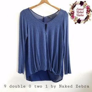 9 double 0 two 1 by naked zebra blue top medium